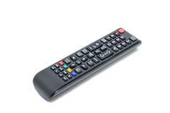 Schwarze Fernsehfernbedienung auf weißem Hintergrund stockbild