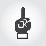 Schwarze flache Handikone mit dem Finger, der oben zeigt Aufmerksamkeit, Informationen, Idee, erstens Konzept stock abbildung