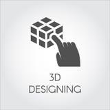 Schwarze flache Ikone Konzeptes des Entwurfes des Handdes rührenden Würfels 3D Aufkleber des virtuellem Modellierens des Gerätes  Stockfoto