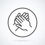 Schwarze flache Ikonengestenhand eines menschlichen Applaus, Bravo Stockbilder