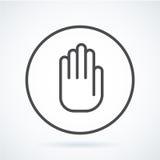 Schwarze flache Ikonengestenhand eines menschlichen Halts, Palme Stockfotos