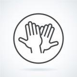 Schwarze flache Ikonengestenhand menschlichen Hochs fünf, grüßend Stockbild
