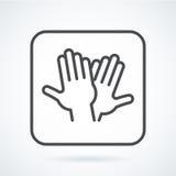 Schwarze flache Ikonengestenhand menschlichen Hochs fünf, grüßend Stockfotografie