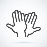 Schwarze flache Ikonengestenhand menschlichen Hochs fünf, grüßend Lizenzfreie Stockbilder