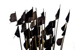 Schwarze Flaggen, getrennt Stockfoto