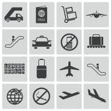 Schwarze Flughafenikonen des Vektors Lizenzfreie Stockfotografie