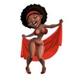Schwarze Frau, die in Badeanzug singt und tanzt Lizenzfreie Stockfotos
