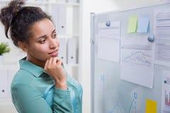 Schwarze Frau im Büro stockfotos