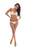 Schwarze Frau im weißen Bikini Stockbild