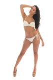 Schwarze Frau im weißen Bikini Stockfotografie