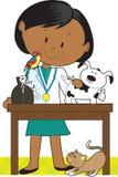 Schwarze Frauen-Tierarzt und Haustiere Stockbild