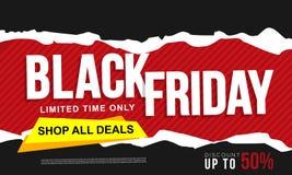 Schwarze Freitag-Fahnenanzeigenschablone stockfoto