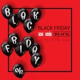 Schwarze Freitag-Schablone mit schwarzen Luftballonen vektor abbildung