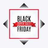 Schwarze Freitag-Superverkaufs-Werbungsfahne mit Band auf Raute und rotem quadratischem Rahmen vektor abbildung