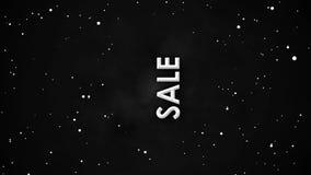 Schwarze Freitag-Verkaufsfahnenanimation von weißen Partikeln auf Nebelfleckhimmel lizenzfreie abbildung