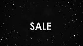 Schwarze Freitag-Verkaufsfahnenanimation von weißen Partikeln auf Nebelfleckhimmel stock footage