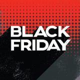 Schwarze Freitag-Verkaufsplakat-Fahnenschablone mit Retro- Typografietext des langen Schattens und Tupfenhintergrund Lizenzfreies Stockbild