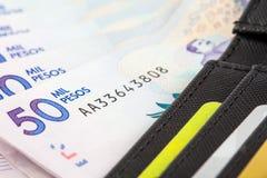 Schwarze Geldbörse gefüllt mit Geld und Karten Lizenzfreie Stockfotos