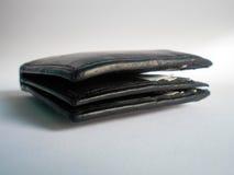 Schwarze Geldbörse lokalisiert auf Weiß Stockfotografie