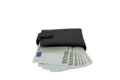 Schwarze Geldbörse mit Euros Stockbild