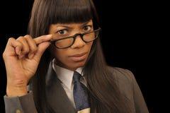 Schwarze Geschäftsfrau lizenzfreies stockbild