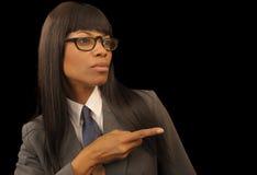 Schwarze Geschäftsfrau stockbild
