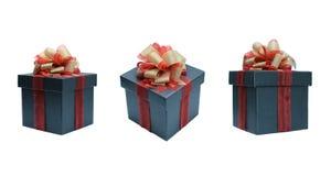 schwarze Geschenkbox für Geschenk mit lokalisiert auf weißem Hintergrund Lizenzfreie Stockbilder