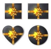 Schwarze Geschenkbox und goldener Bogensatz Vektor realistisch Produktplatzierungsspott oben Entwurf, der Illustrationen 3d verpa lizenzfreie abbildung