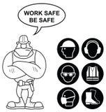 Schwarze Gesundheits-und Sicherheits-Zeichen Stockbild