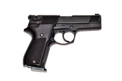 Schwarze Gewehr getrennt auf Weiß Stockfotos