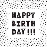Schwarze gezeichnete alles- Gute zum Geburtstagvektor-Grußkarte der Tinte Hand Lizenzfreie Stockfotos