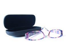 Schwarze Glaskästen mit Gläsern Lizenzfreie Stockbilder
