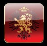 Schwarze Glühen-rote dekorative Wappenkunden-aufwändige Fahne. Stockfotos