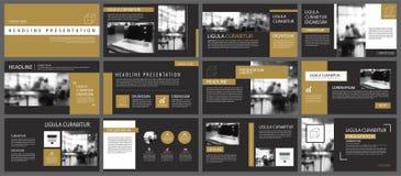Schwarze Golddarstellungsschablonen und infographics Elementhintergrund Gebrauch für Geschäftsjahresbericht, Flieger, Unternehmen Lizenzfreie Stockfotografie