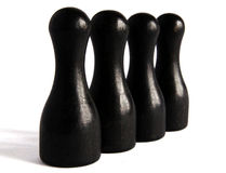 Schwarze hölzerne Bowlingspielstifte Lizenzfreie Stockfotografie