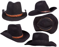 Schwarze Hüte des Cowboys getrennt auf weißem Hintergrund Stockfoto