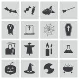 Schwarze Halloween-Ikonen des Vektors Stockfoto