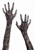 Schwarze Hand des Todes, absolut gehen, Zombiethema, Halloween-Thema, Zombiehände, weißer Hintergrund, Mamahände Stockfoto