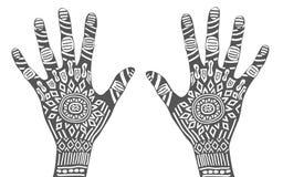 Schwarze Hand mit einem weißen Muster Stockfoto