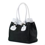 Schwarze Handtasche mit den Weißgriffen lokalisiert auf Weiß Lizenzfreie Stockfotos