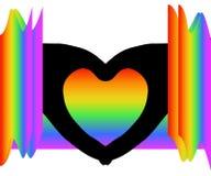 Schwarze Herzform-Schattenbildhände unter bunten Regenbogenfarben auf weißem transparentem Hintergrund stock abbildung