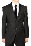 Schwarze Hochzeitsanzüge für Männer, lokalisiert auf Weiß. Stockfotografie