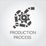 Schwarze Ikone in der flachen Art des Roboterarmes Detail sammelnd Industrielle moderne Ausrüstung und Produktion, die Konzept ve Lizenzfreies Stockbild
