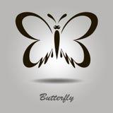 Schwarze Ikone des Vektors mit Schmetterling Lizenzfreie Stockfotos