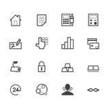 Schwarze Ikonen der Bank eingestellt auf weißen Hintergrund stockfotos