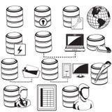 Schwarze Ikonen der Datenbank Stockfotografie