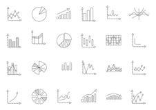 Schwarze Ikonen der Diagramme eingestellt Stockfoto