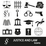 Schwarze Ikonen der Gerechtigkeit und des Gesetzes eingestellt Lizenzfreie Stockfotos
