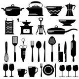 Schwarze Ikonen der Küche eingestellt Stockfotografie