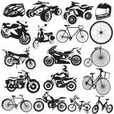 Schwarze Ikonen des Fahrrades und des Motorrades Stockbilder